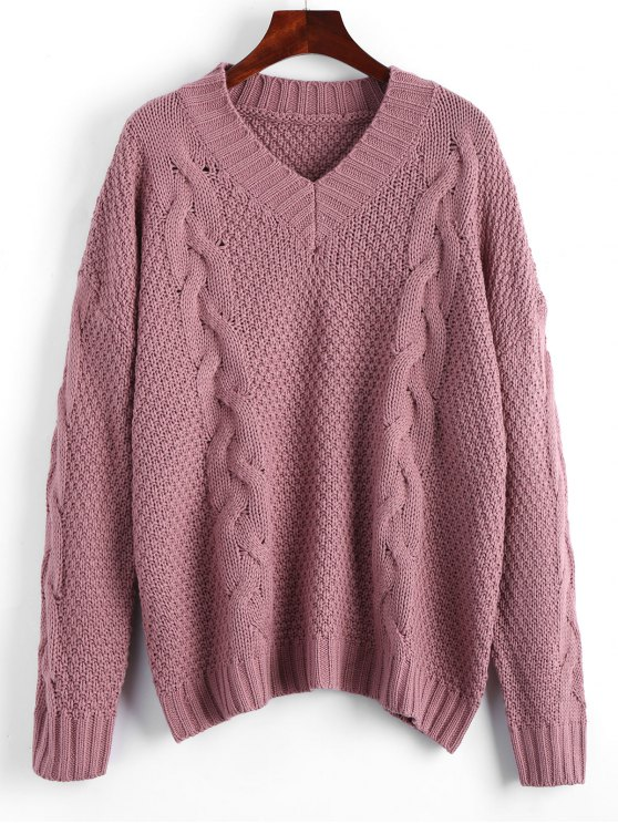 Oversized V Neck Cable Knit Sweater SMASHING: Sweaters ONE SIZE ...