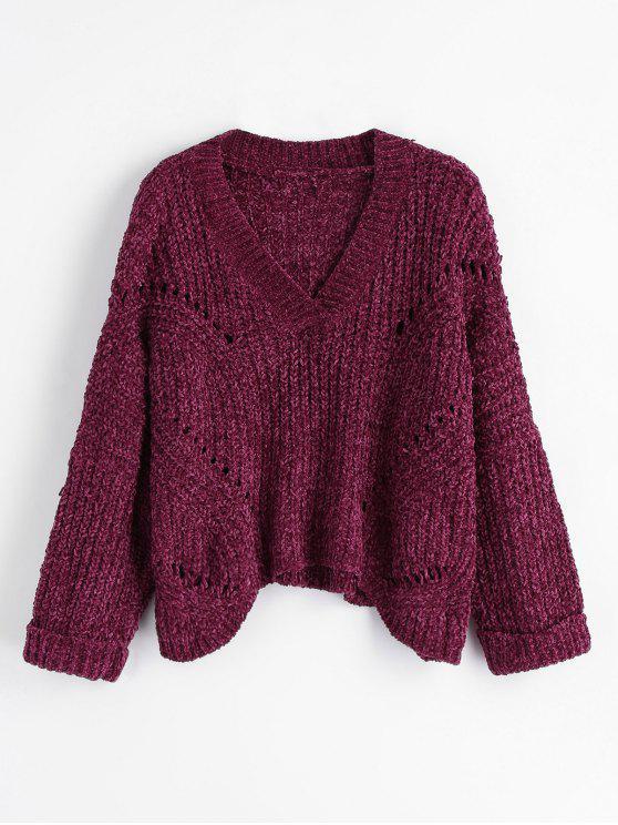 Suéter grueso con cuello en V de Slouchy - Cientos de Fructosa Única Talla