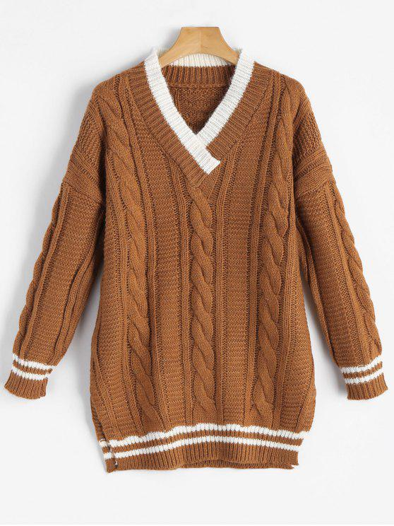 V Neck Side Slit Cable Knit Sweater BROWN: Sweaters ONE SIZE | ZAFUL