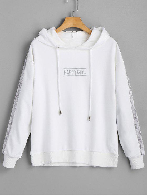 shop Letter Happy Girl Velvet Panel Hoodie - WHITE ONE SIZE