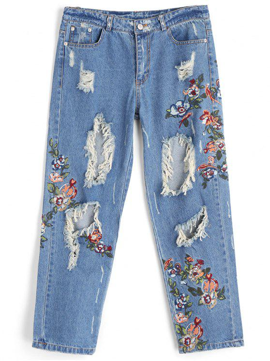1c69f464 32% OFF] 2019 Embroidery Holes Destroyed Jeans In DENIM BLUE   ZAFUL