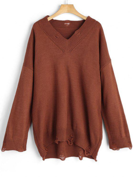 V Neck Distressed Oversized Sweater BROWN: Sweaters ONE SIZE | ZAFUL