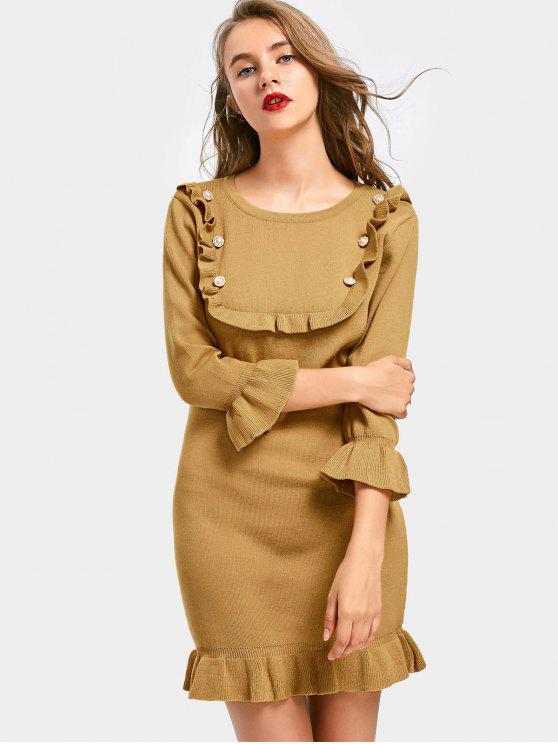 women's Beading Ruffled Flare Sleeve Knitted Dress - KHAKI ONE SIZE