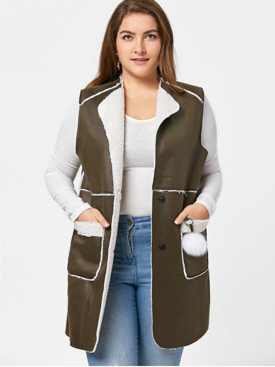 sale Plus Size Shearling Waistcoat - ARMY GREEN 3XL