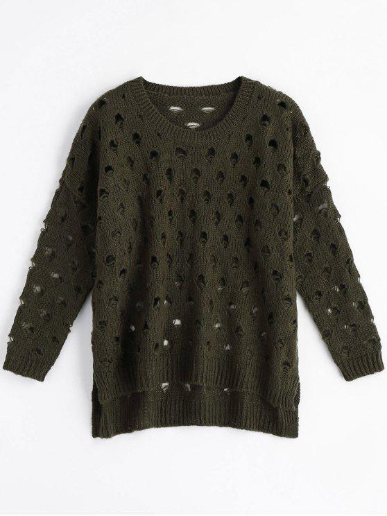 Cut Out High Low Ripped Sweater - Exército verde Tamanho único