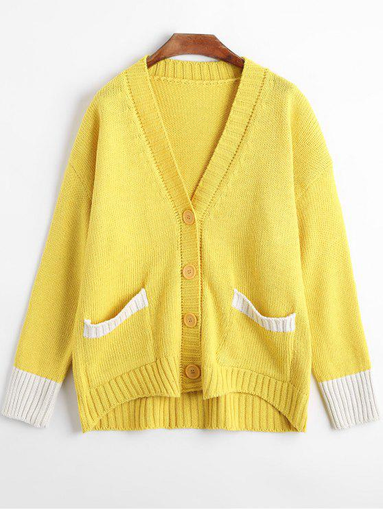 Button Up Drop Shoulder Knit Cardigan YELLOW: Sweaters ONE SIZE ...