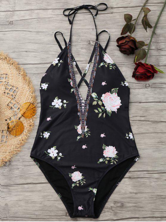 fashion High Cut Padded Floral Swimwear - BLACK 2XL