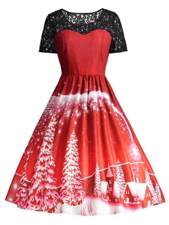 Vestido de fiesta de la vendimia del panel de encaje estampado - Rojo L