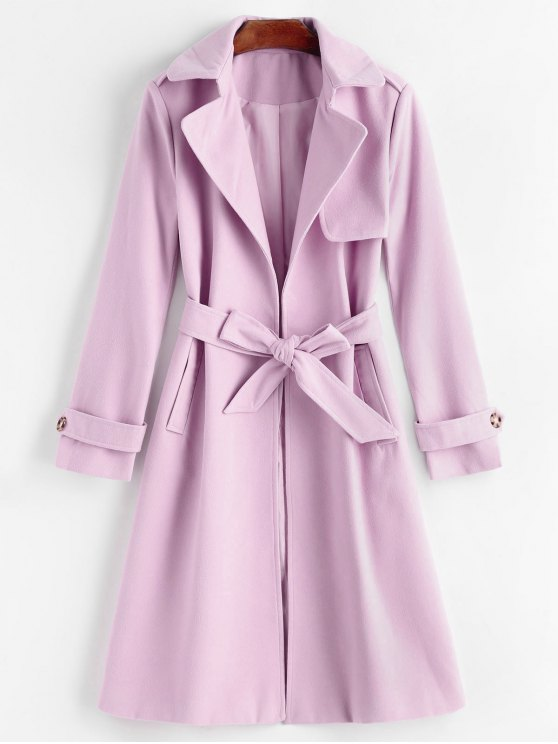 fashion Belted Lapel Coat with Pockets - PINKISH PURPLE XL