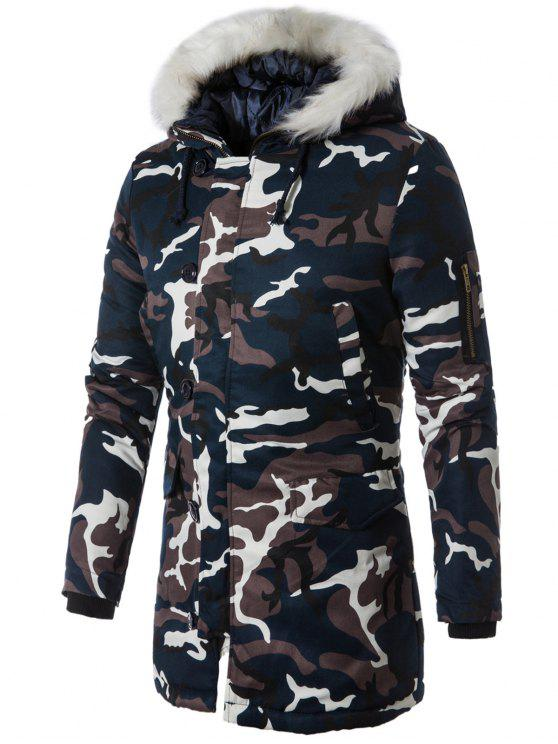 womens Zip Up Camo Faux Fur Hooded Coat - PURPLISH BLUE L