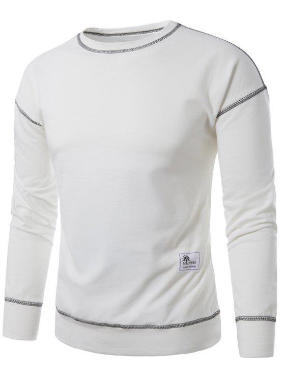 البلوز الطاقم الرقبة زين خياطة البلوز - أبيض M