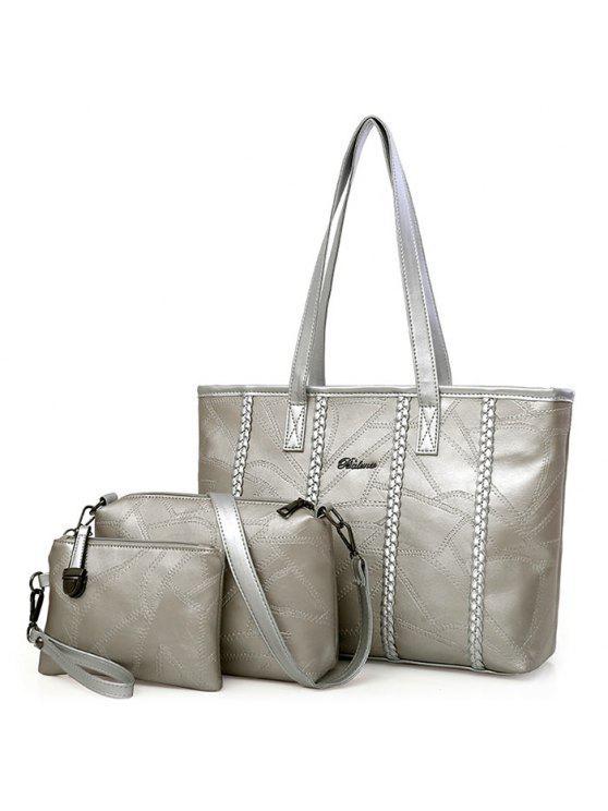 3 قطعة جديلة مبطن حقيبة يد مجموعة - فضة