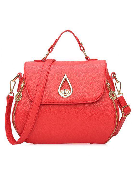 فو الجلود والجلود حقيبة يد - أحمر