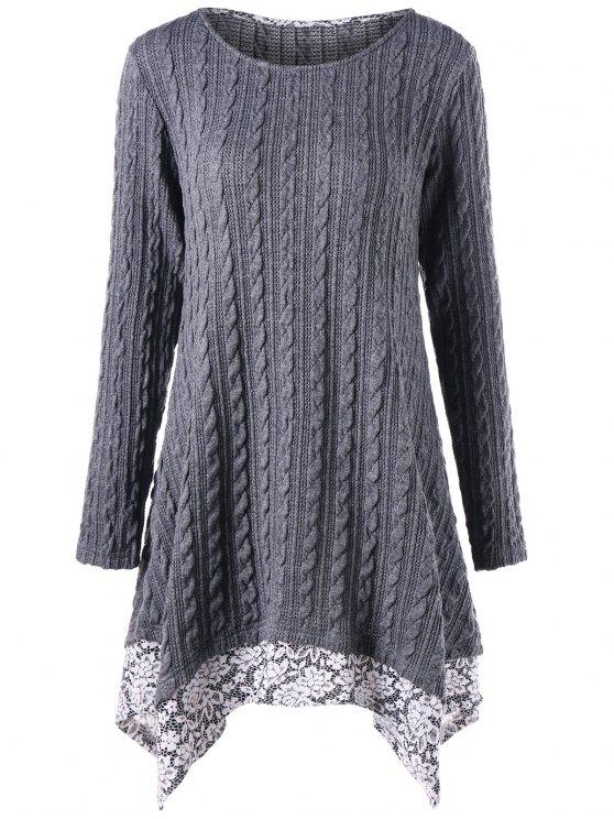 فستان غير متماثل كابل محبوك - اللون الرمادي XL