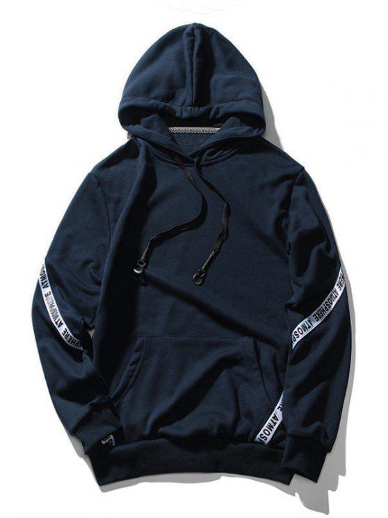 Sudadera con capucha de letra de bolsillo - Azul Profundo M