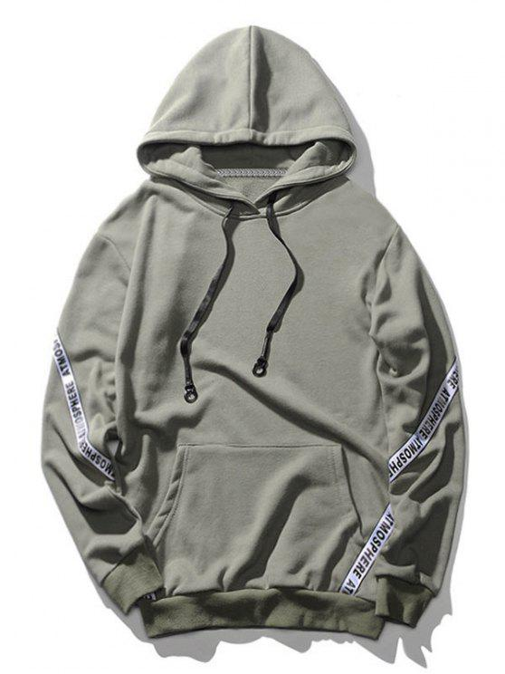Sudadera con capucha de letra de bolsillo - Gris XL