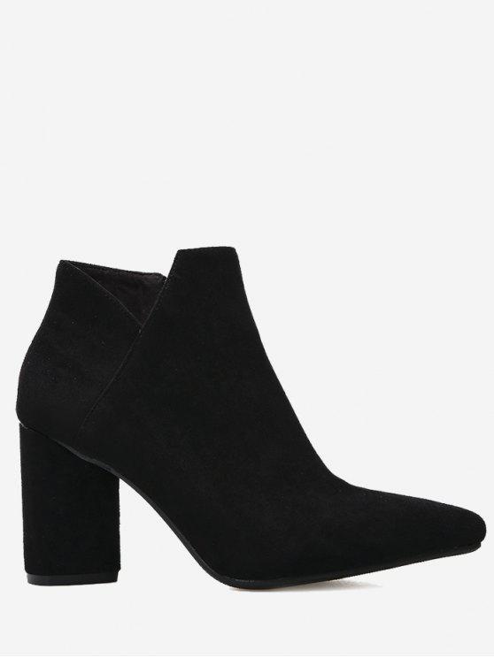 unique Pointed Toe Mid Heel Boots - BLACK 36