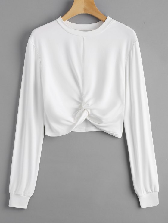fancy Heathered Cropped Twist Sweatshirt - WHITE XL