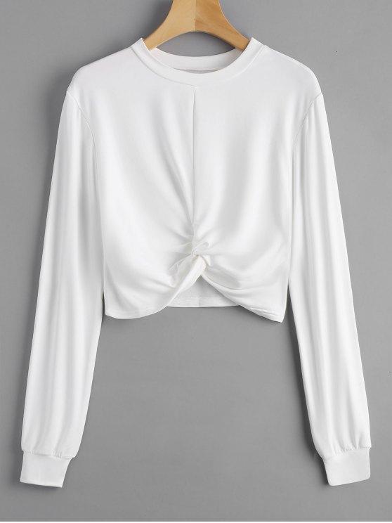 Sweatshirt Court Tordu Chiné - Blanc M