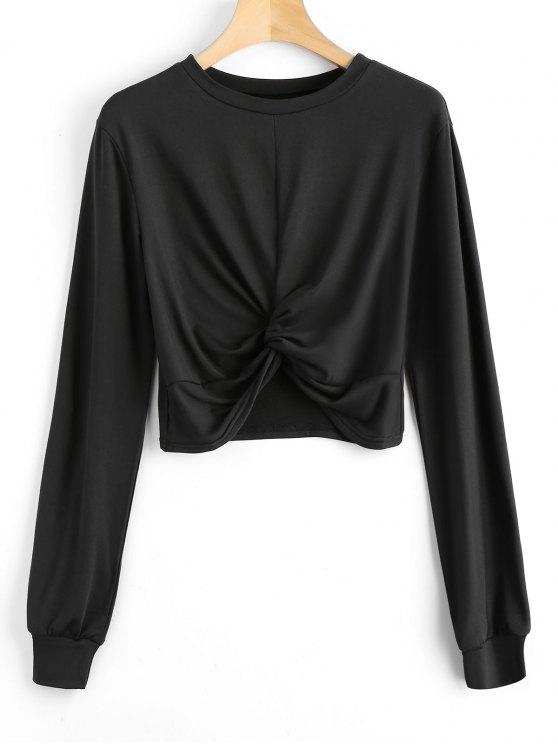 chic Heathered Cropped Twist Sweatshirt - BLACK L