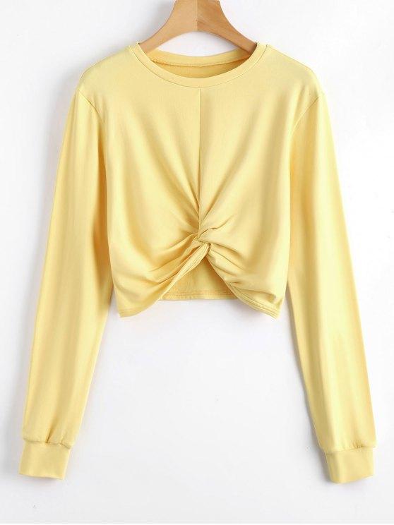 online Heathered Cropped Twist Sweatshirt - YELLOW L