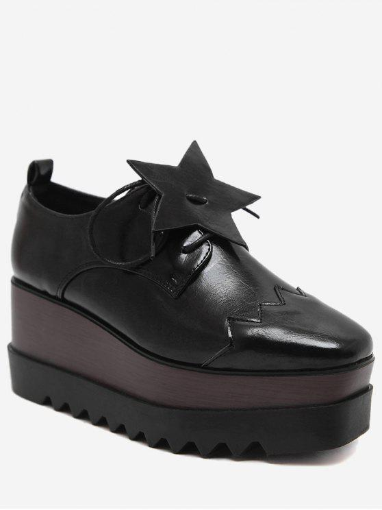 latest Line Pentagram Platform Shoes - BLACK 35