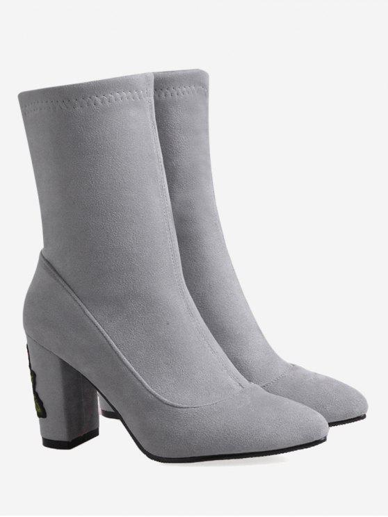 women Chunky Heel Flower Embroidery Boots - GRAY 41