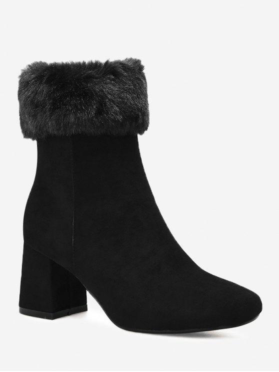 حذاء مطوي من الأعلى بطول منتصف الساق ذو كعب عريض - أسود 37