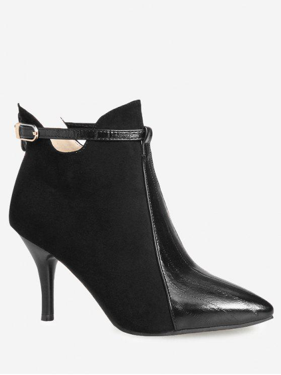 women's Buckle Strap Pointed Toe Ankle Boots - BLACK 39