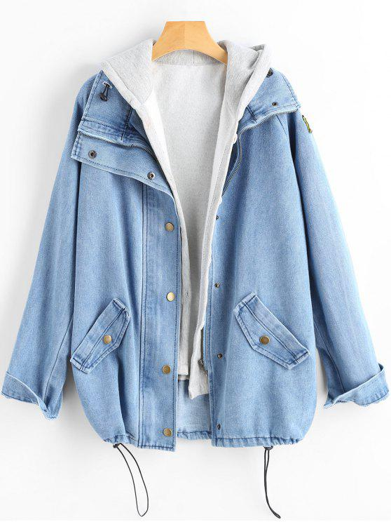 lady Button Up Denim Jacket and Hooded Vest - LIGHT BLUE 2XL