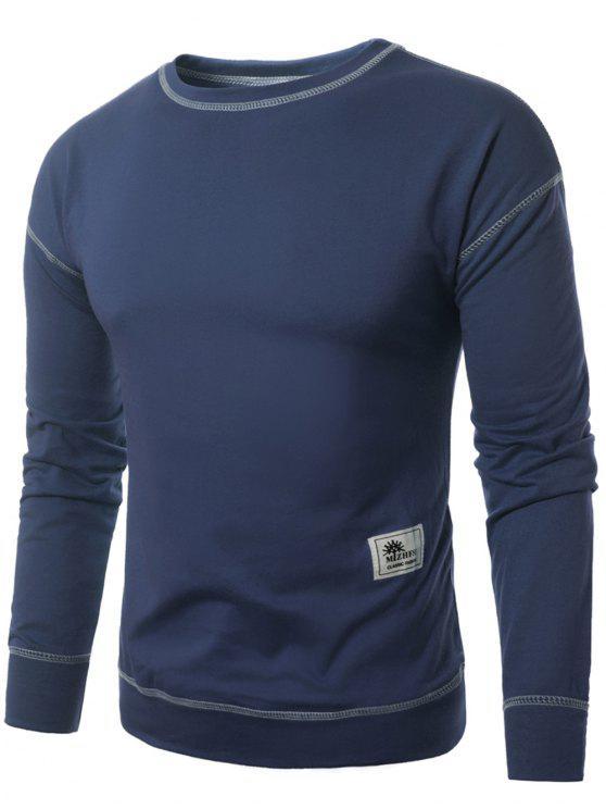 best Crew Neck Applique Suture Pullover Sweatshirt - BLUE 4XL