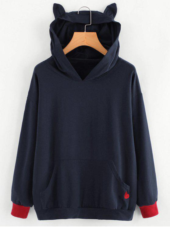 women's Contrasting Cat Heart Embroidered Hoodie - PURPLISH BLUE M
