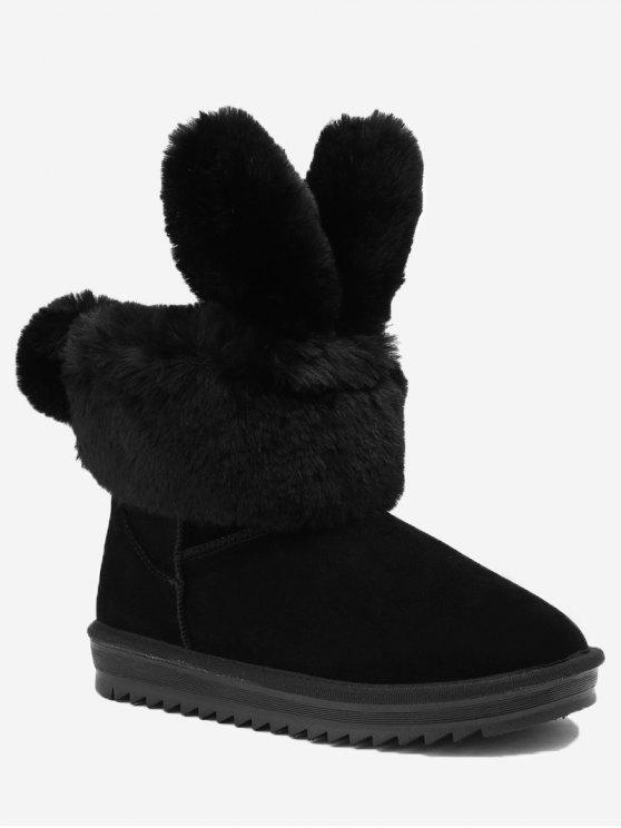 fancy Ankle Rabbit Ear Snow Boots - BLACK 36