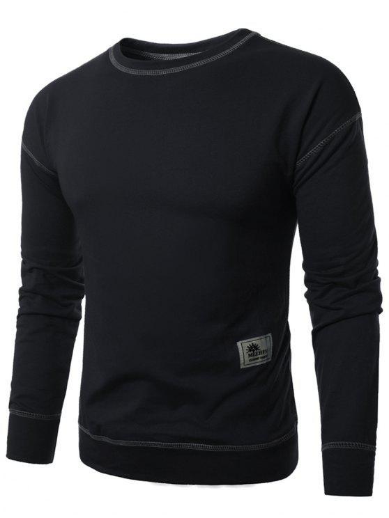 البلوز الطاقم الرقبة زين خياطة البلوز - أسود L