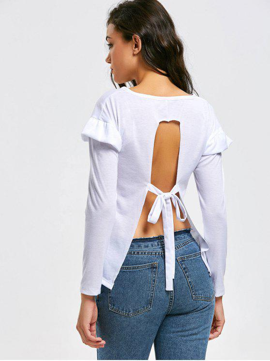 03aa4436a9d8d 19% OFF] 2019 Ruffled Self Tie Bowknot Open Back Tee In WHITE | ZAFUL