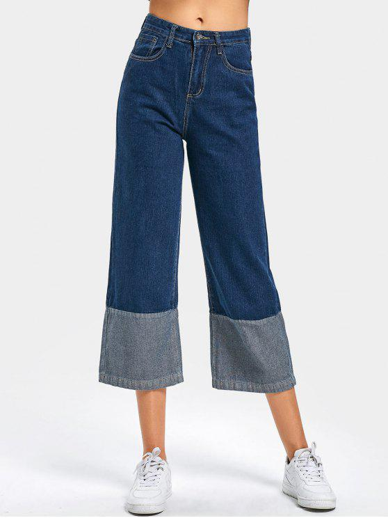 women's High Waist Contrast Wide Leg Cropped Jeans - DEEP BLUE L