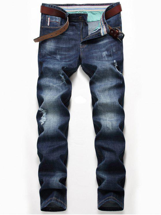 Whisker Pattern Distressed Verblasste Jeans - Denim Blau 34