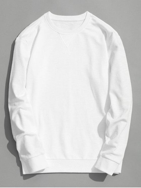 Sudadera con cuello redondo slim fit - Blanco XL