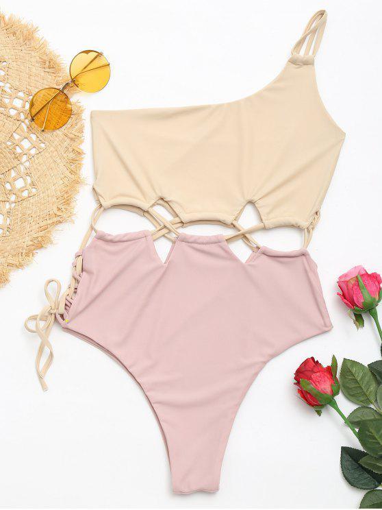 sale Lace-up Two Tone One Shoulder Swimsuit - APRICOT L