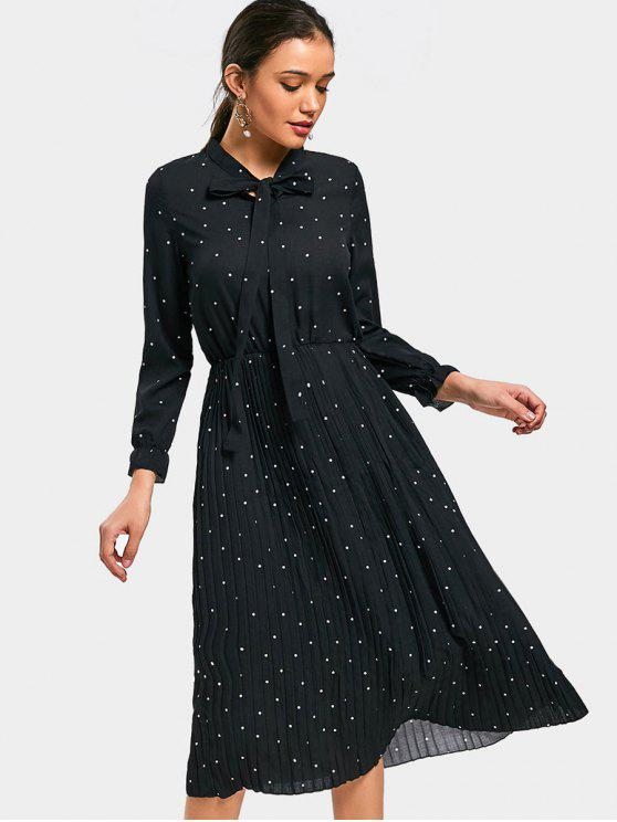 ladies Polka Dot Bow Tie Pleated Dress - BLACK M