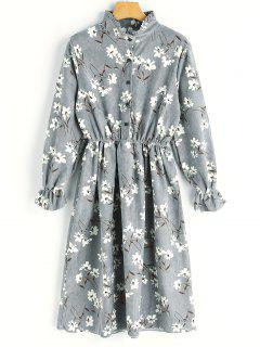 Kord Kleid Mit Blumendruck  - Grau M
