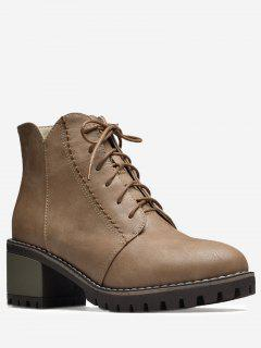 Stitching Block Heel Short Boots - Deep Brown 38