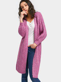 Long Heathered Open Front Cardigan - Purple