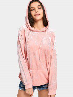 Drawstring Pocket Crushed Velvet Hoodie - Pink M