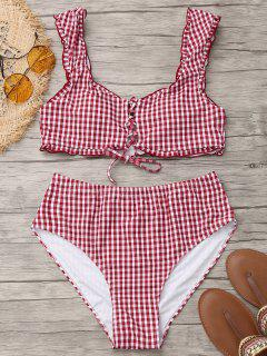 Lace Up Plaid Plus Size High Cut Bikini - Red And White 4xl