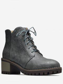 Stitching Block Heel Short Boots - Gray 38