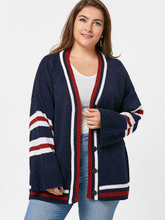 Plus Size Button Up Stripe Tunic Cardigan - Purplish Blue