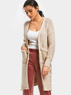Side Lace Up Chunky Cardigan With Pockets - Apricot