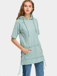 Short Sleeve Lace Up Ripped Hoodie - Light Green S