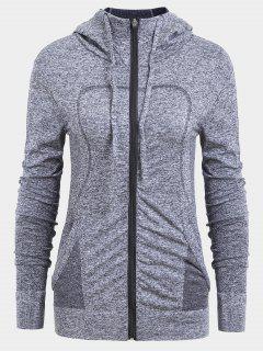 Zip Up Heathered Sporty Hoodie - Gray S